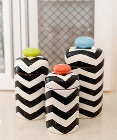 Black Chevron Covered Jar Set by Coton Colors