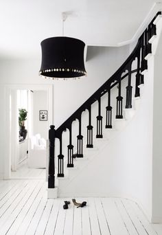 Escalier et rambarde en noir et blanc, ambiance baroque chic | Black and white Stairs