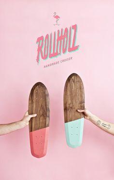 Skateboards & Longboards - skateboard mini  retro cruiser rollholz nussbaum - ein Designerstück von tomwilhelm bei DaWanda