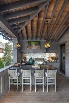 Have Many Trouble in Indoor Kitchen? Install The Outdoor One! Find other ideas: DIY Outdoor Kitchen And Pool Layout Outdoor Kitchen and Pergola Ideas Rustic Outdoor Kitchen On A Budget Small Outdoor Kitchen Patio On Deck Outdoor Kitchen Covered Design Rustic Outdoor Kitchens, Outdoor Kitchen Patio, Outdoor Kitchen Design, Patio Design, Outdoor Decor, Small Patio, Covered Outdoor Kitchens, Pergola Patio, Diy Patio