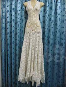 Patrones libres: Vestido de novia de hilo de ganchillo paso a paso