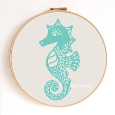 Ornament Seahorse Silhouette Counted Cross Stitch by SimpleSmart