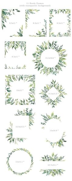 Watercolor Greenery Frames Borders PNG Clipart Green Leaves Branches Clip Art Aquarelle Arrangements Bright Foliage Free Commercial Use - interior decor - Watercolor Clipart, Watercolor Border, Watercolor Leaves, Watercolor Design, Watercolor Cards, Watercolor Illustration, Watercolor Animals, Watercolor Background, Watercolor Landscape