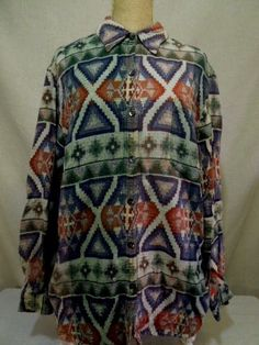 Women M/L #vintage #Chico'sDesigns #Chico's Long Sleeve Button Down #shirt #southwestern #aztec