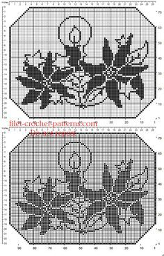 Christmas crochet filet doily with candles and stars