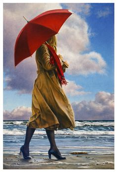 Paul Kelley's sensual art has a romantic appeal, from his figurative painting, fashion artwork, and nude art prints, to his dance artwork and Nova Scotia art. Realistic Paintings, Paintings I Love, Creation Photo, Umbrella Art, Canadian Artists, Figure Painting, Beautiful Artwork, Figurative Art, Female Art