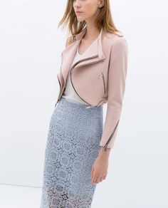 Image 3 of CROPPED JACKET WITH ZIPS from Zara