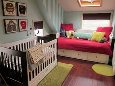 This is a gorgeous nursery, note the very new crib sheet by Skip Hop - designed for stylish, modern nurseries - with no unsafe crib bumpers. Just make sure to remove all blankets from the crib when baby is sleeping. Baby Bedroom, Nursery Room, Kids Bedroom, Boy Room, Girl Nursery, Kids Rooms, Bedroom Ideas, Monster Kindergarten, Monster Nursery