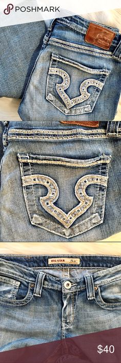 """Big Star """"Sweet"""" Jeans 29R Ultra Low Rise Big Star jeans. Style name is """"Sweet"""". 98% cotton 2% spandex. 27"""" inseam. Great condition. No frayed hems. Big Star Jeans Boot Cut"""
