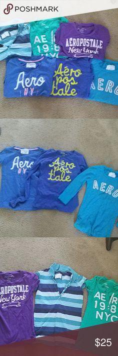 Aeropostale bundle 3 long sleeve medium shirts.  3 short sleeve medium shirts.  Rarely worn. Aeropostale Tops Tees - Short Sleeve