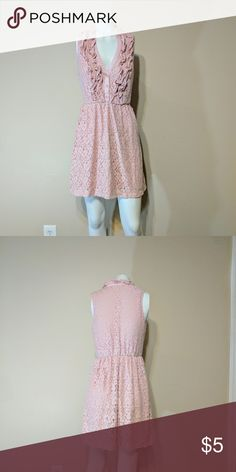 XS Pink lace outer line with ruffle neckline. Extra small light pink dress with lacey outer line. No stains or rips. Clean. Dresses Mini