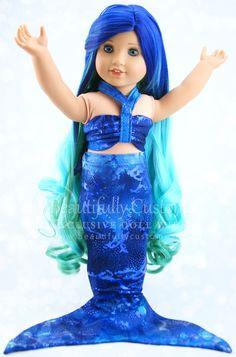 Seafoam Mermaid Doll Wig (Blue Green Ombre Hair) for Custom American Girl Dolls: Beautifully Custom Exclusive