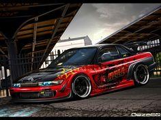 Fond d'écran avec une voiture Nissan Silvia S14 héroïque compétente