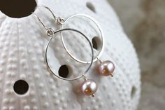 Hand Formed Pink Mauve Pearl and Argentium Sterling Silver Simple Circle Loop Earrings - Ella, by PrincessTingTing, $20.00