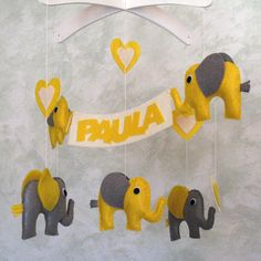 Cot mobile for nursery decor, wooden and felt mobile. Custom crib mobile for baby room Cot Mobile, Baby Crib Mobile, Baby Cribs, Elephant Mobile, Diy Gifts For Him, Felt Baby, Homemade Gifts, Craft Gifts, Baby Room