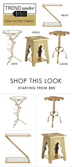 """""""Trend Under $150: Gold Accent Tables"""" by polyvore-editorial ❤ liked on Polyvore featuring interior, interiors, interior design, home, home decor, interior decorating, Pier 1 Imports, ELK Lighting, Safavieh and trendunder150"""