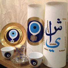 Tea and coffee set Tea and coffee set Pottery Painting, Ceramic Painting, Ceramic Art, Ramadan Crafts, Ramadan Decorations, Mirror Painting, Diy Painting, Hamsa, Evil Eye Art