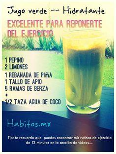 Jugo verde HIDRATANTE: pepino, limones, piña, apio, berza y agua de coco