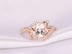 6x8mm Oval Cut Morganite and Diamond Engagement Ring 14k Rose gold Curved Butterfly Flower