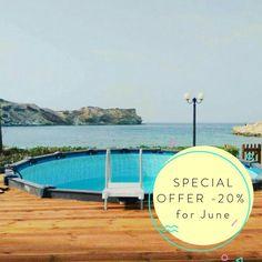 "-20% for #June !!! 🌅🚨 #discountcode ""-20%@June""  #summer #vacations #greece #creta #staysalty 20 June, Summer Vacations, Greece, Villa, Outdoor Decor, Greece Country, Fork, Villas"