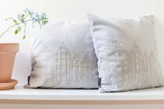 Soft grey with a touch of blue...Let me introduce you to the new collection of Amsterdam Canal Houses Cushions.