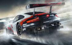 Hämta bilder Porsche 911 RSR, 2017, Le Mans, Racing bil, - banan, Tyska bilar, Porsche