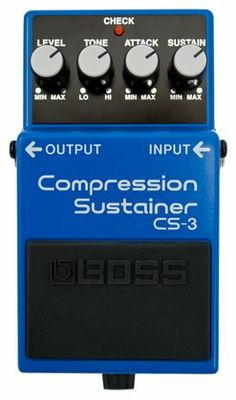 The CS-3 Compression Sustainer pedal compresses louder signals while boosting lower signals, providing smooth sustain without degrading the original sound quality. As with all Boss pedals, the CS-3
