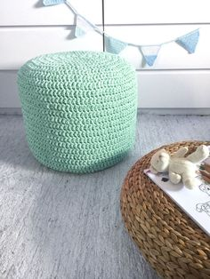 Light Mint Pouf-Ottoman-FootStool-Pouf Ottoman-Mint Crochet Pouf-Nursery Decor-Kids Furniture-Floor Cushion-Knit Pouf-Bean Bag Chair-Floor Pillow Made to order - Due to many open orders to handle I need about 3/4 weeks to ship this item. If you need it sooner contact me and I will see what I can do to help you  This listing is a UNSTUFFED pouf: crochet cover + insert fabric bag to stuff If you want it STUFFED you have to buy also this extra listing: https://www.etsy.com/li...