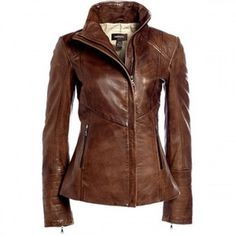 A womens leather jacket made with soft supple leather. It has an asymmetric cut line and patchwork sleeves. It has two side pockets and a high collar. A classy womens leather jacket with an assymetrical stylish cut. This jacket is made with pure genuine class A leather giving it a soft, comfortable feel. It has zippered side pockets for all your cell phone and accessories. The sleeves are patchy giving the jacket an edgy, elegant touch. There is no way you can go wrong with this statement…
