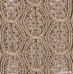 . Узор «Кира», сочетающий в себе элементы ажурной и рельефной вязки