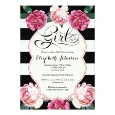 It's a Girl Baby Shower Invitation - click to get yours right now! Sweet pink watercolor flower illustration. Black and white stripe pattern. Beautiful modern calligraphy. #babyshower #invitation #babyshowerideas #illustration #illustrations #sweet #cute #editable #babygirl #flower #floral #garden