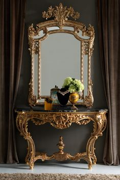 A stylish statement, adding the ultimate in opulence, luxury and versatility for any interior. The Gold Rococo Console Table and Mirror Set is the most perfect of pairings. Shown here in a beautiful antiqued gold, finish with hand painted accentuating detailing to the elaborately carved frames of both the console and the mirror. Indulgent and fabulous!