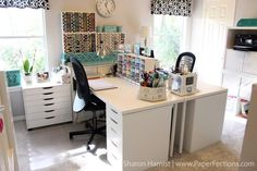 From Sharon Harnist via www.PaperFections… 2017 Craft Room Tour From Sharon Harnist via www. Sewing Room Design, Sewing Room Decor, Craft Room Design, Sewing Room Organization, Craft Room Storage, Sewing Rooms, Paper Storage, Organizing Tips, Ikea Craft Room