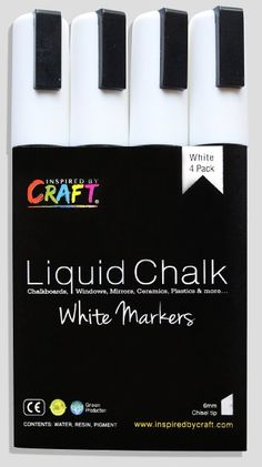 LIQUID CHALK Marker Pens: WHITE 4-PACK 6mm, Chisel Tip, Wet Erase. Premium Professional Grade Chalk Ink Markers perfect for Cafes, Bistros, Restaurants, the Office Think Tank, School Teachers & more! Solid Maximum Coverage, Crisp Lines, perfect for non-porous Chalkboards, Blackboards, Windows, Mirro