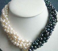 design Christmas 5rows 7-8mm white & black Akoya Cultured Pearl necklace fashion jewelry