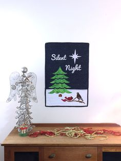 """18"""" x 24"""" #Winter #Christmas Themed Quilt Wall Hanging  FULL KIT  The full kit includes: All the pre-cut pre-fused appliqué pieces. (tree, star, lettering birds, branch) The ... #appliquekit #wallhanging #quiltkit #makeitinaday #funandeasy #christmas #wall-hanging #cardinals #partridge #easy #winter #peaceful #snow #sparkles #quilting"""
