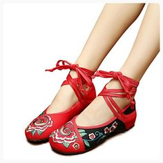 Veowalk Patchwork Embroidered Women's Cotton Flat Shoes Ankle Strap Casual Comfort Canvas Ballets EU38 Red (*Partner Link)