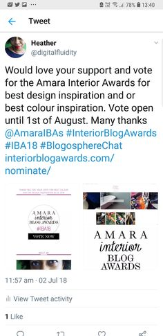 Would love your suppprt. Thank you. Vote for Digital Fluidity best colour inspiration and or best design inspiration blog link in the photo. Amara #Interior #Design #awards #blog #lifestyle