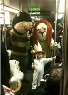 Mom, dad and Max on the subway.