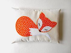 orange fox mini pillow