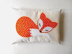 orange fox mini pillow