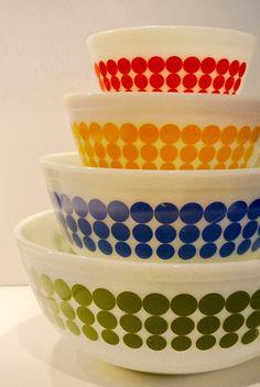 Vintage Polka Dot Pyrex Set New Dots Polka Dot by StrictlyVintage