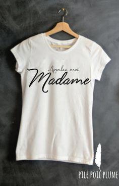 t -shirt ou débardeur appelez -moi madame ( mariage) cadeau evjf : T-Shirt, debardeurs par pile-poil-plume ANIMATION LENDEMAIN DE MARIAGE