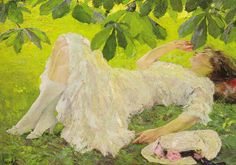 The Athenaeum - Reclining woman in white (Edward Cucuel - No dates listed)