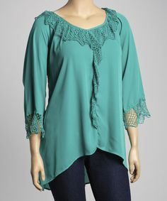 Another great find on #zulily! Emerald Ruffle V-Neck Top - Plus by Simply Irresistible #zulilyfinds