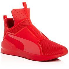 Fenty Puma x Rihanna Men's Fierce Core High Top Sneakers ($90) ❤ liked on Polyvore featuring men's fashion, men's shoes, men's sneakers, red, mens shoes, mens red sneakers, puma mens shoes, mens hi tops and mens high top sneakers