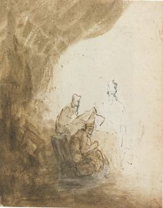 Rembrandt van Rijn, 1628 - Three scribes a curtain - art print, fine art reproduction, wall art - Davidson Ormesher Rembrandt Drawings, Fine Art Prints, Canvas Prints, Dutch Golden Age, Dutch Artists, Canvas Paper, Old Master, Art Reproductions