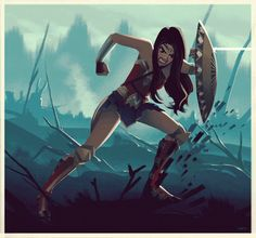 Animated version of my Wonder Woman in No Man's Land illustration :)