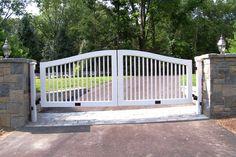 Automated white wood gate