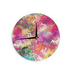 """Danny Ivan """"Splash"""" Rainbow Abstract Wall Clock"""